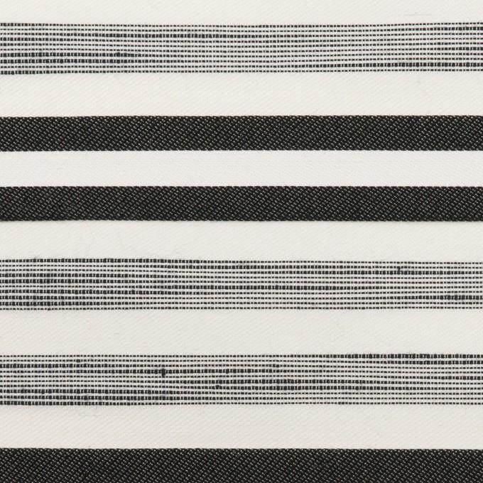 コットン&ポリエステル混×ボーダー(オフホワイト&チャコールブラック)×サージジャガード・ストレッチ_イタリア製 イメージ1