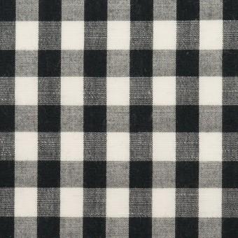 コットン&リネン×チェック(アイボリー&ブラック)×ボイル