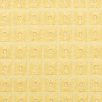 コットン×スクエア(イエロー)×ローン刺繍 サムネイル1
