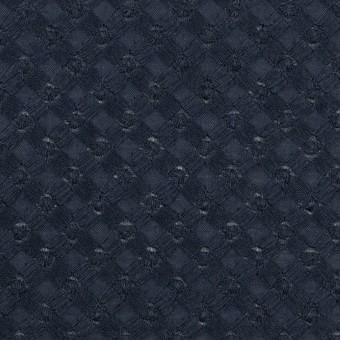 コットン×幾何学模様(ネイビー)×ローン刺繍 サムネイル1