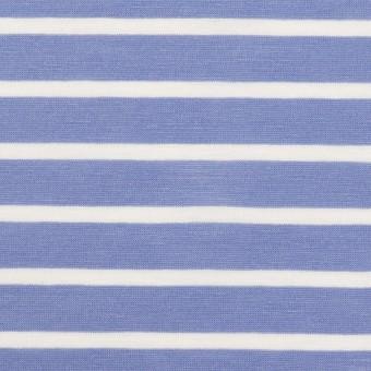 コットン×ボーダー(ヒヤシンスブルー&ホワイト)×天竺ニット_全2色 サムネイル1