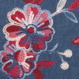 コットン×フラワー(アッシュブルー)×ダンガリー刺繍
