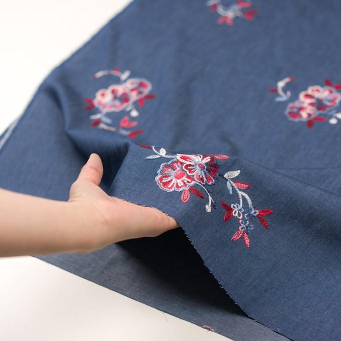 コットン×フラワー(アッシュブルー)×ダンガリー刺繍 イメージ5