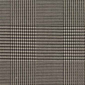 コットン&ポリエステル混×チェック(アイボリー&ブラック)×千鳥格子ストレッチ サムネイル1
