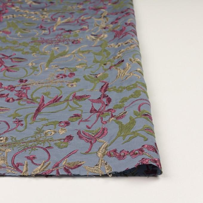 キュプラ&レーヨン×フラワー(ブルーグレー)×サージ刺繍 イメージ3