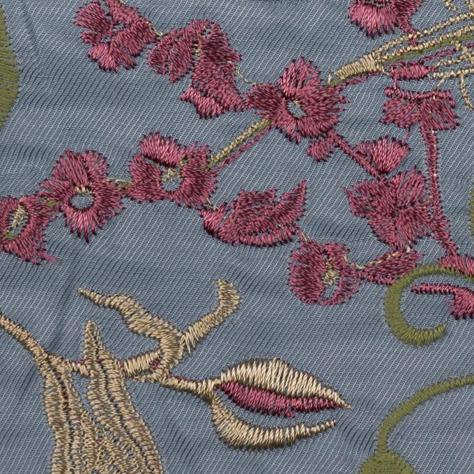 キュプラ&レーヨン×フラワー(ブルーグレー)×サージ刺繍 イメージ1