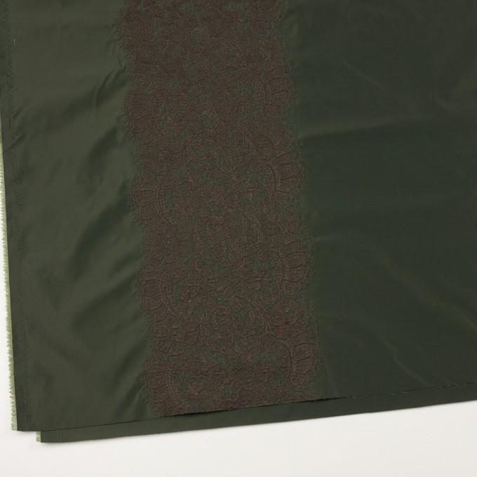 ポリエステル×レース(ディープグリーン&ブラウン)×形状記憶タフタ刺繍 イメージ2