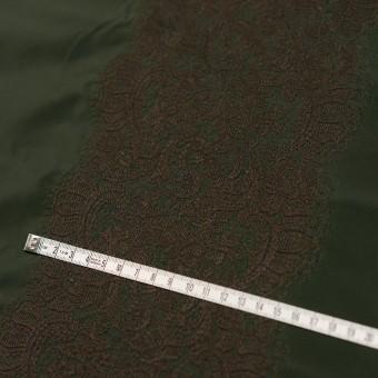 ポリエステル×レース(ディープグリーン&ブラウン)×形状記憶タフタ刺繍 サムネイル4