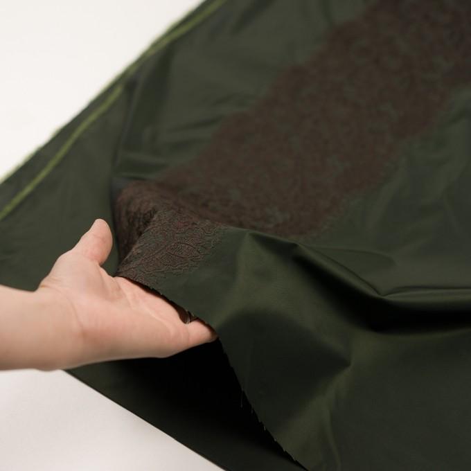 ポリエステル×レース(ディープグリーン&ブラウン)×形状記憶タフタ刺繍 イメージ5