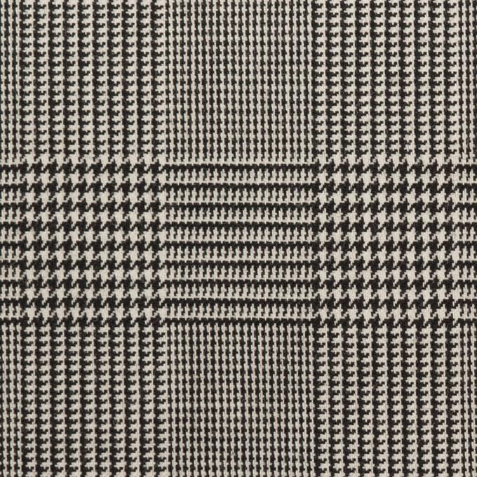 ウール&ポリウレタン×チェック(アイボリー&ブラック)×千鳥格子ストレッチ イメージ1