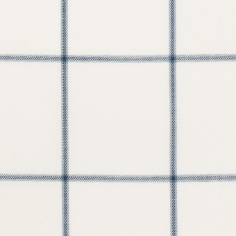 コットン×チェック(ホワイト&ネイビーブルー)×薄サージ サムネイル1
