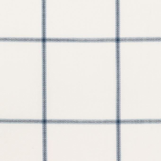 コットン×チェック(ホワイト&ネイビーブルー)×薄サージ イメージ1