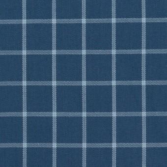 コットン×チェック(アッシュネイビー&ブルーグレー)×薄サージ