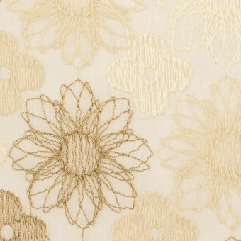 コットン×フラワー(ベージュ)×オーガンジー刺繍_全4色 サムネイル1