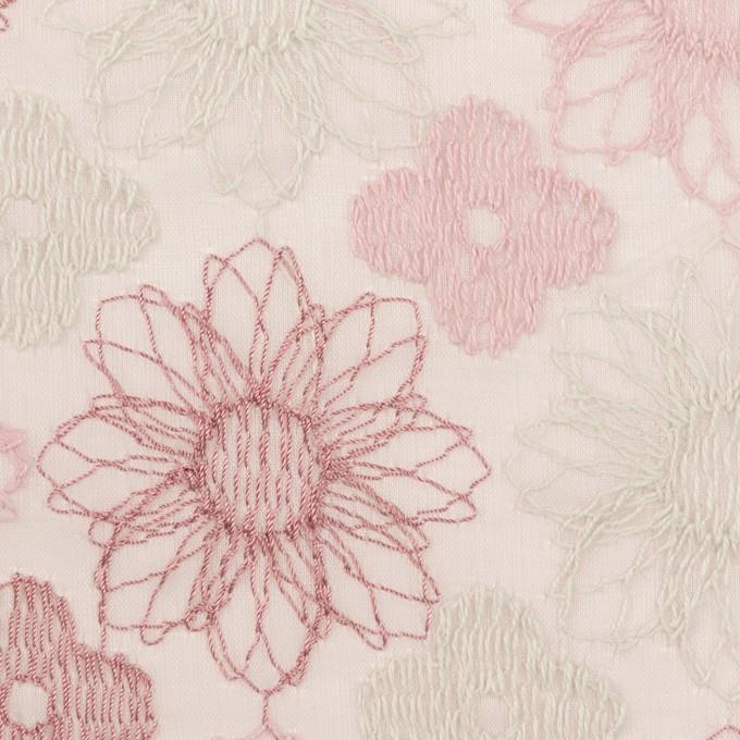 コットン×フラワー(モーブ)×オーガンジー刺繍_全4色 イメージ1