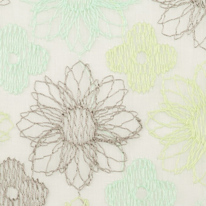 コットン×フラワー(ミント)×オーガンジー刺繍_全4色 イメージ1