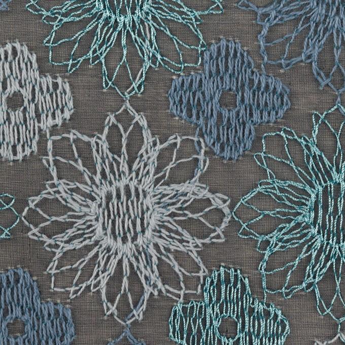 コットン×フラワー(ブルーグレー)×オーガンジー刺繍_全4色 イメージ1
