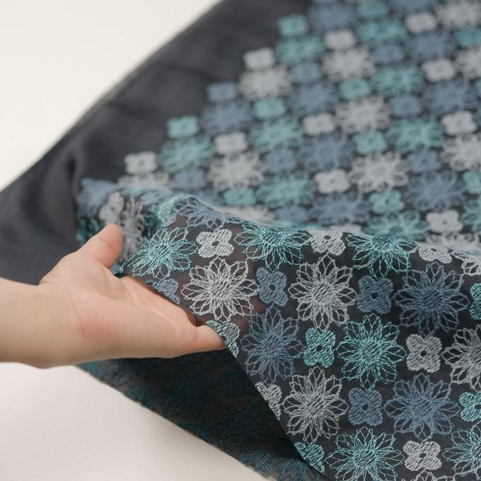 コットン×フラワー(ブルーグレー)×オーガンジー刺繍_全4色 イメージ5