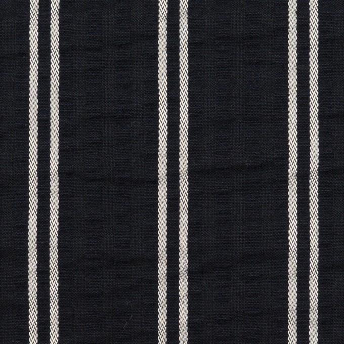 コットン&ポリエステル混×ストライプ(ブラック&ホワイト)×サッカー_全3色 イメージ1