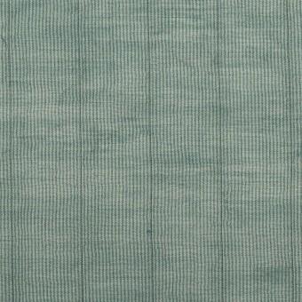コットン&シルク混×ストライプ(シーグリーン)×オーガンジー・ワッシャー