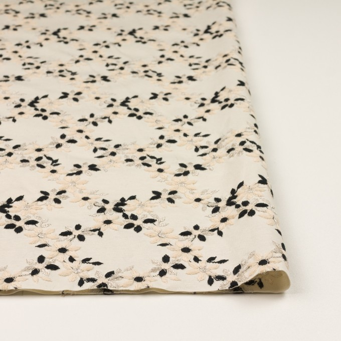 コットン×フラワー(キナリ&ブラック)×スムースニット刺繍 イメージ3