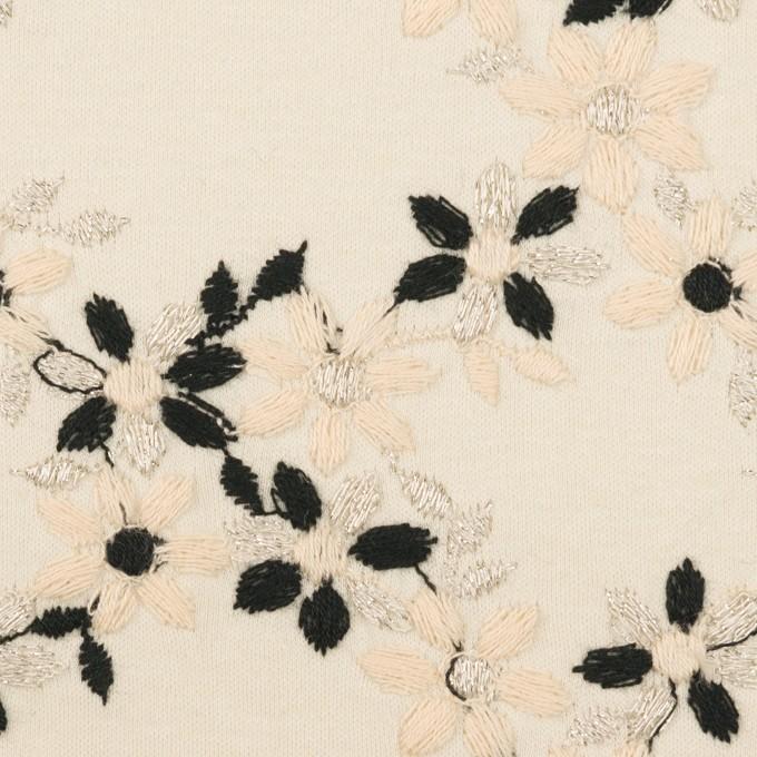 コットン×フラワー(キナリ&ブラック)×スムースニット刺繍 イメージ1