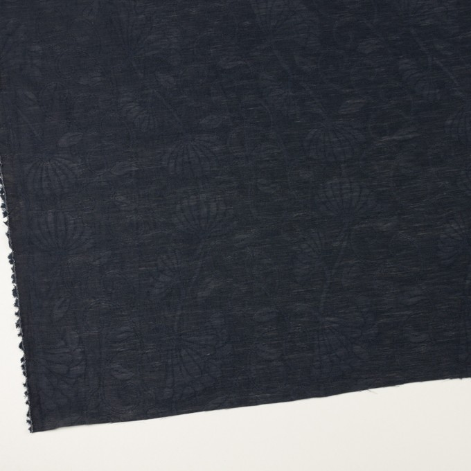 リネン&ナイロン×フラワー(ネイビー)×オーガンジー・ジャガード_全3色 イメージ2