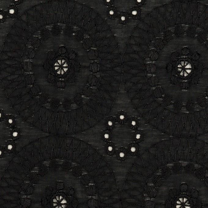 コットン×フラワー(ブラック)×ローン刺繍_全6色 イメージ1