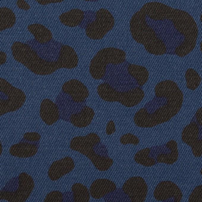 コットン&ポリウレタン×レオパード(ネイビー)×チノクロス・ストレッチ イメージ1