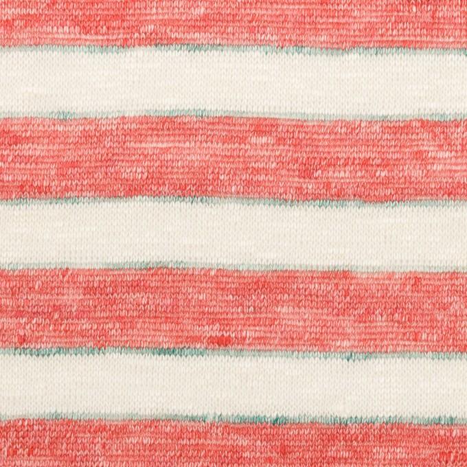 リネン×ボーダー(レッド)×天竺ニット_全2色 イメージ1