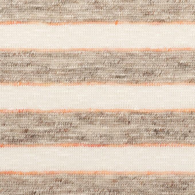 リネン×ボーダー(モカ)×天竺ニット_全2色 イメージ1
