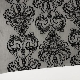 シルク×幾何学模様(ブラック)×シフォンジョーゼット刺繍 サムネイル2