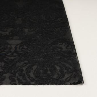 シルク×幾何学模様(ブラック)×シフォンジョーゼット刺繍 サムネイル3