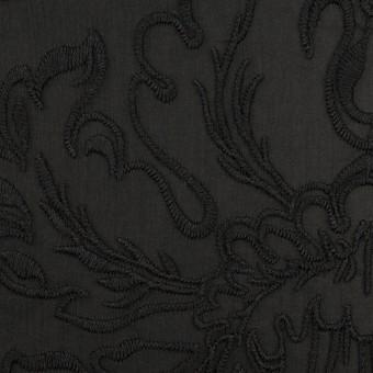 シルク×幾何学模様(ブラック)×シフォンジョーゼット刺繍