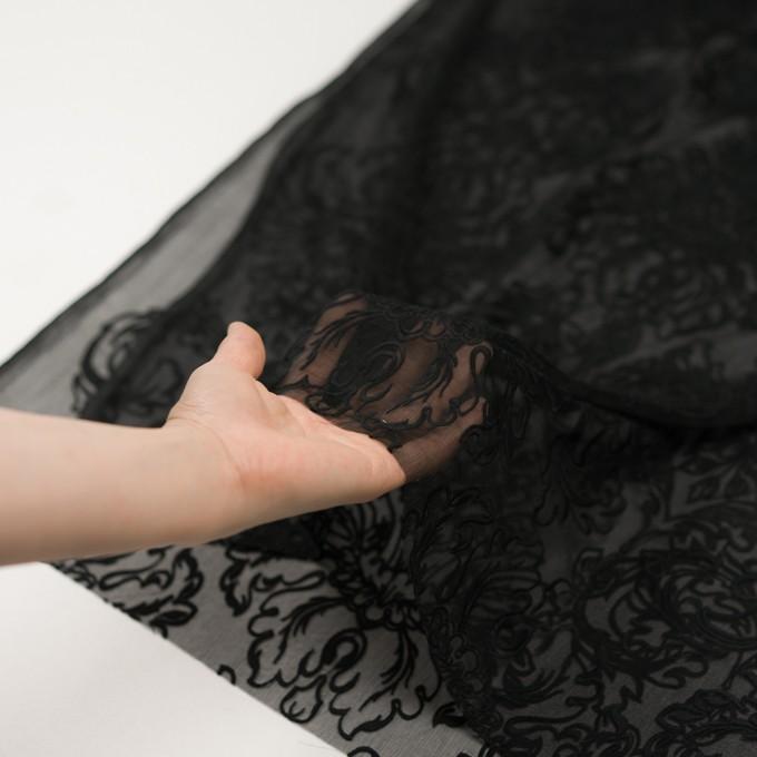 シルク×幾何学模様(ブラック)×シフォンジョーゼット刺繍 イメージ5