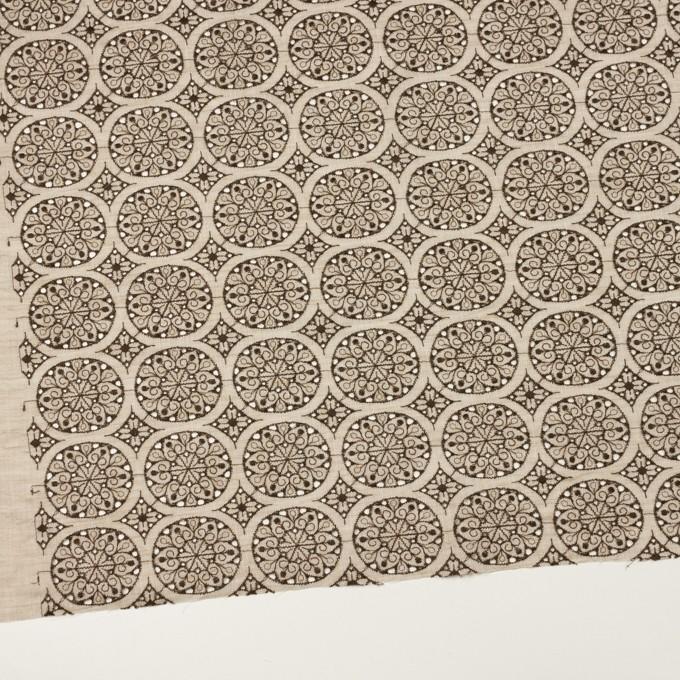コットン×フラワー(ベージュ&ブラウン)×シャンブレー刺繍_全2色 イメージ2