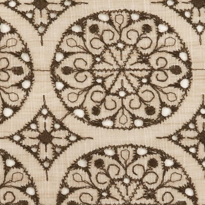 コットン×フラワー(ベージュ&ブラウン)×シャンブレー刺繍_全2色 イメージ1