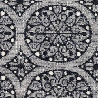 コットン×フラワー(ネイビー&ネイビー)×シャンブレー刺繍_全2色 サムネイル1