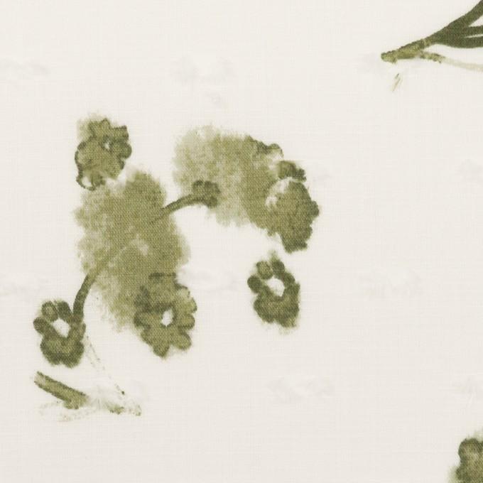 コットン×フラワー(カーキグリーン)×ボイルカットジャガード_全2色 イメージ1