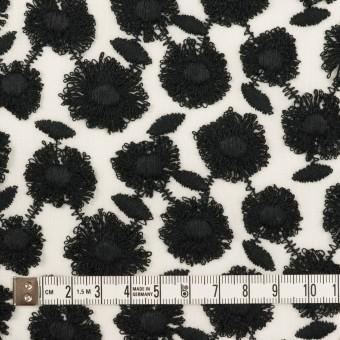 コットン×フラワー(ブラック&ホワイト)×ボイル刺繍 サムネイル4
