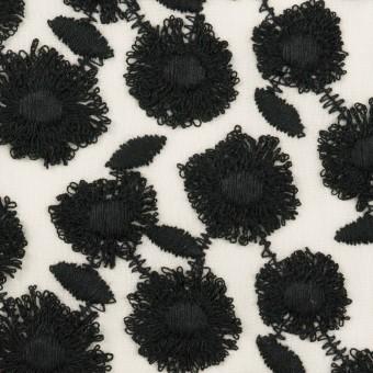コットン×フラワー(ブラック&ホワイト)×ボイル刺繍