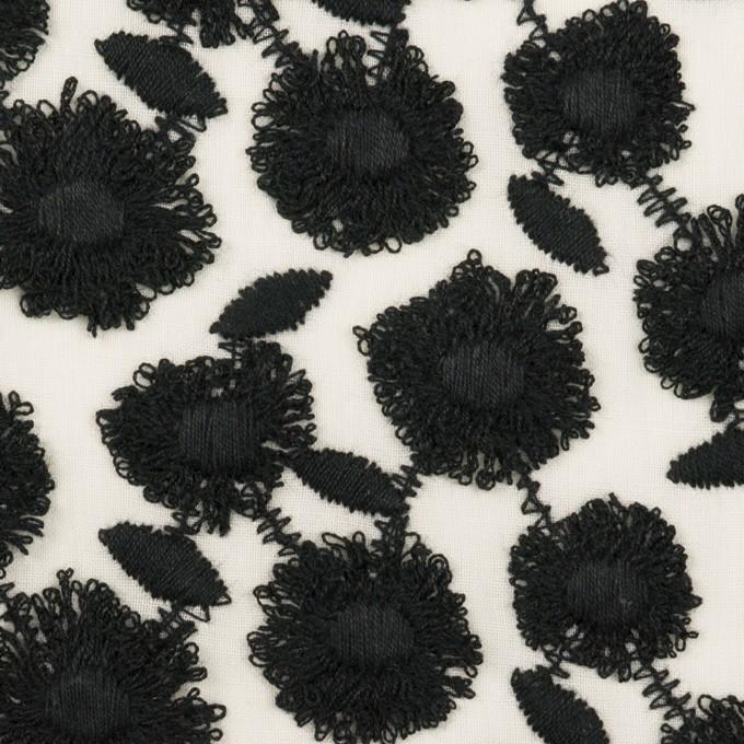 コットン×フラワー(ブラック&ホワイト)×ボイル刺繍 イメージ1