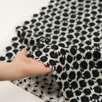 コットン×フラワー(ブラック&ホワイト)×ボイル刺繍 サムネイル5