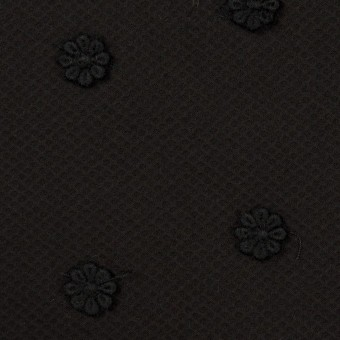 コットン×フラワー(ブラック)×アートピケ・モチーフレース サムネイル1