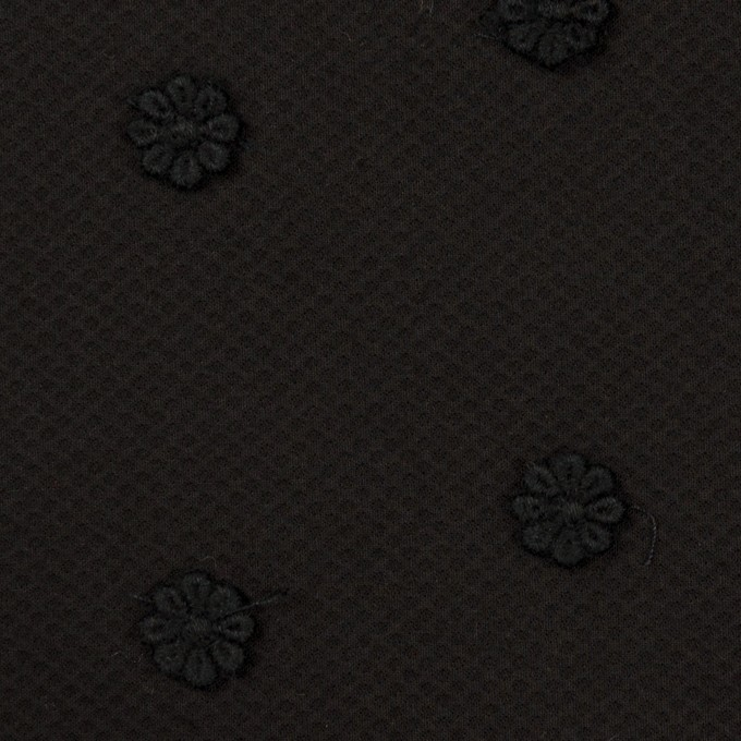 コットン×フラワー(ブラック)×アートピケ・モチーフレース イメージ1