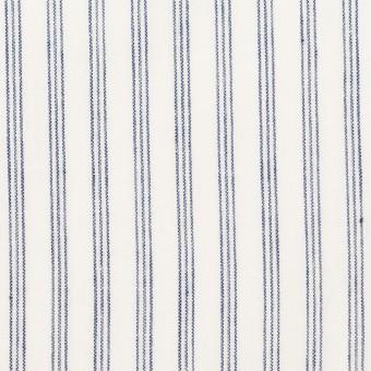 コットン&リネン×ストライプ(ブルー)×ブロード