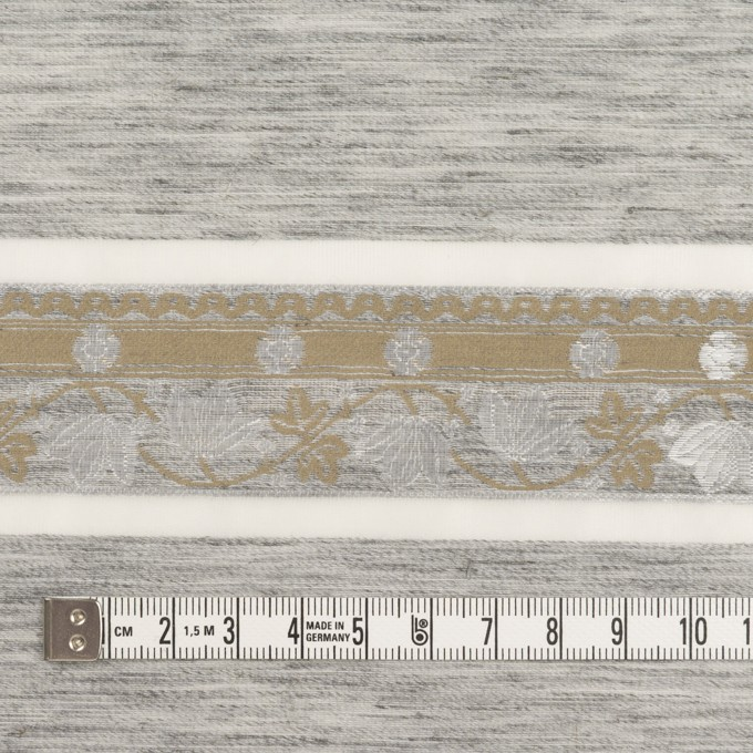 ナイロン&ポリエステル混×ボーダー(シルバーグレー&カーキ)×オーガンジー・ジャガード イメージ4