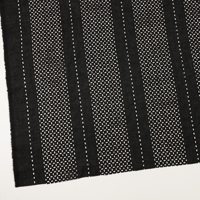コットン×ストライプ(ブラック)×ローン刺繍_全2色 イメージ2