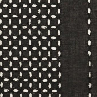 コットン×ストライプ(ブラック)×ローン刺繍_全2色