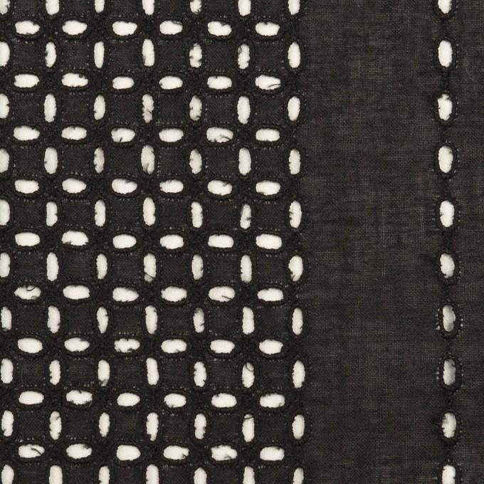 コットン×ストライプ(ブラック)×ローン刺繍_全2色 イメージ1